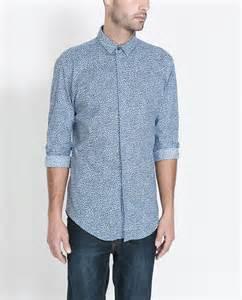 zara animal print shirt in blue for men lyst