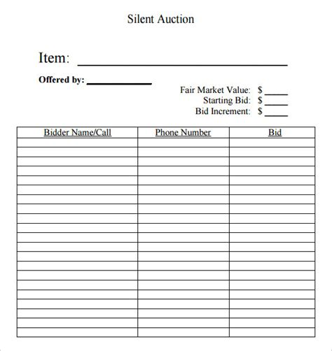 free blank silent auction bid sheets