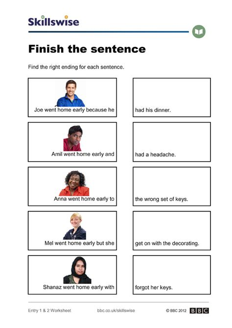 sentence structure worksheets finish the sentence