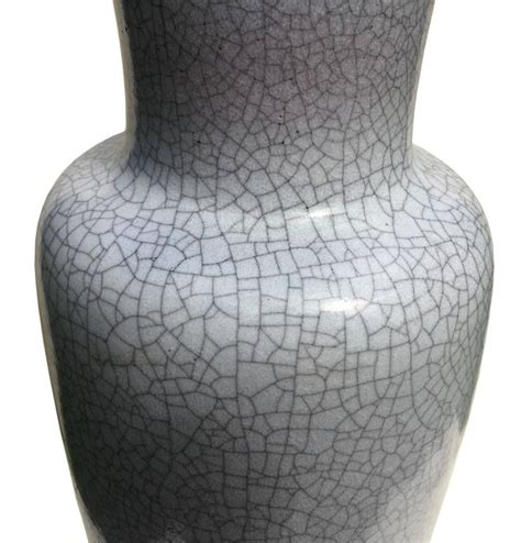 Gray Floor Vase Large Floor Vase In Gray Crackled Glaze By Glatzle For