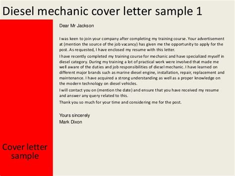 mechanic cover letter diesel mechanic cover letter