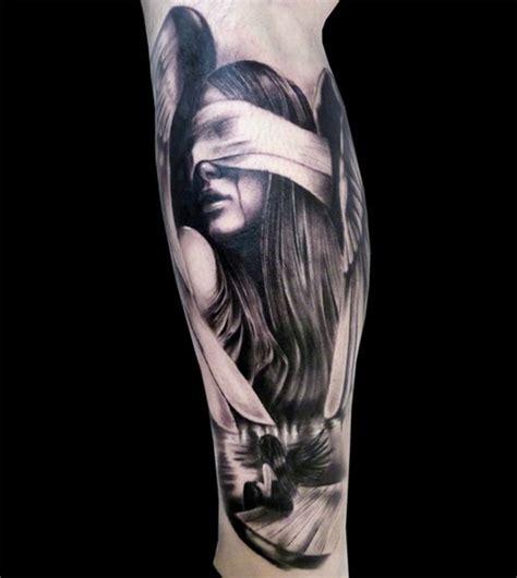 tattoo ink angels grey ink angel girl leg tattoo