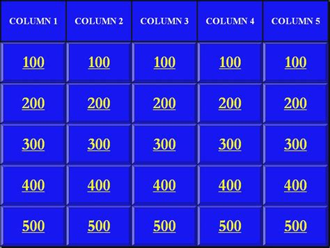 jeopardy template powerpoint 2007 jeopardy powerpoint template 5 categories