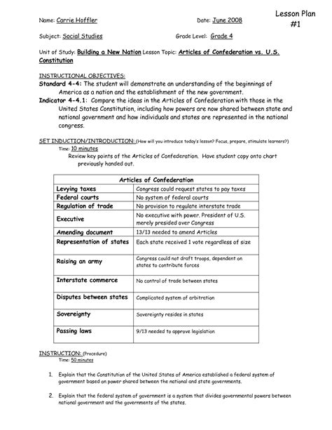 The Constitution Of The United States Worksheet by 12 Best Images Of Articles Of Confederation And