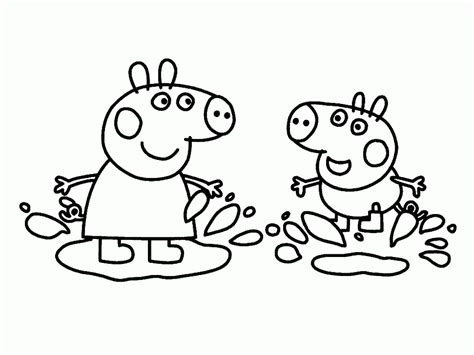 peppa pig muddy puddles coloring pages george pig coloriage pour les enfants