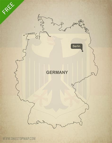 germany map printable free vector map of germany outline one stop map