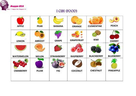 nomi di alimenti flash cards il cibo food