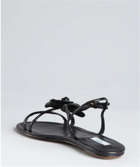 patent leather sandals flats prada black patent leather flower flat sandals in black lyst