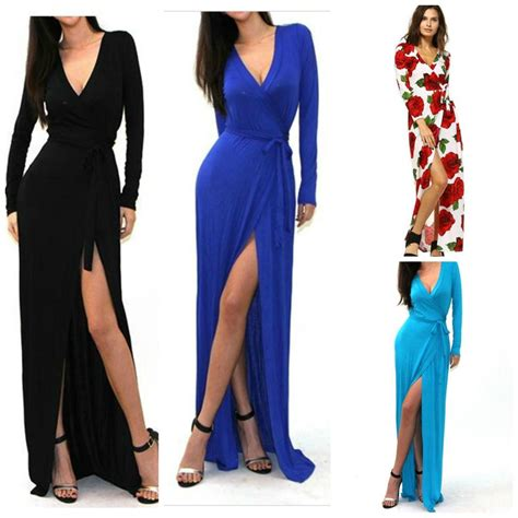 Sleeve Slit Side V Neck Dress black side slit maxi v neck sleeve wrap dress hippie
