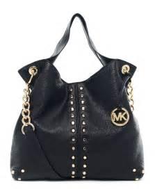 Michael kors astor large black leather chain shoulder tote purse car