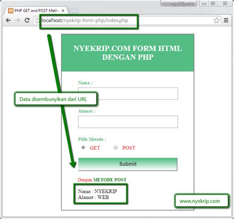 membuat form action html cara membuat form html post dan get php nyekrip