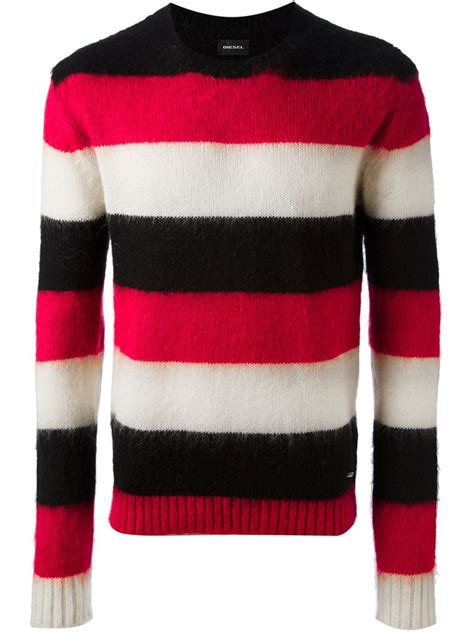 37 3 Black Sweater Limited lyst diesel striped sweater in for