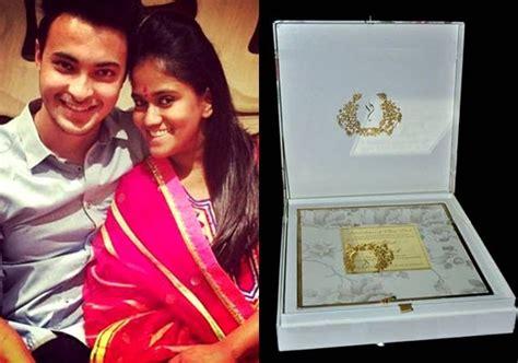 arpita khan wedding card pics a look at arpita khan s royal wedding invitation view pics