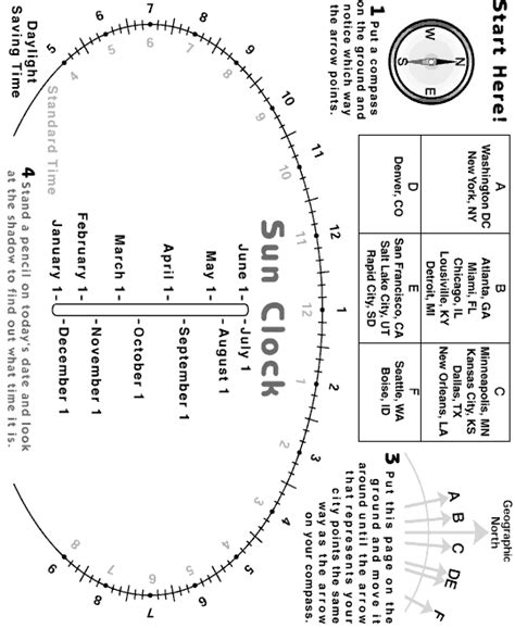 Printable Sun Clock   science activity sun clock diagram exploratorium