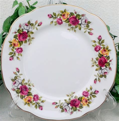duchess rose floral square salad plate set bone china from
