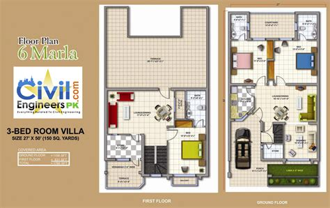 How To Make Your Own Floor Plan by 6 Marla House Plans Civil Engineers Pk