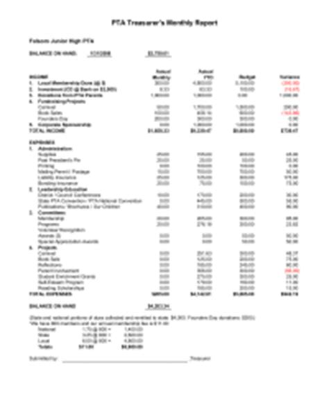 28 pta treasurer report template bpo sle