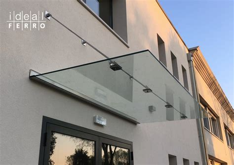 tettoia vetro pensilina in vetro con tiranti idealferro