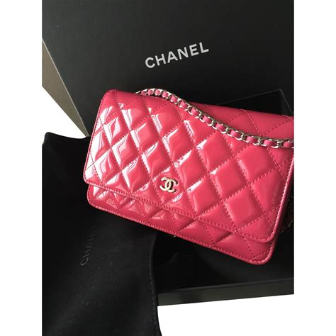 Channel Pink chanel pink chanel wallet on chain woc clutch bags patent