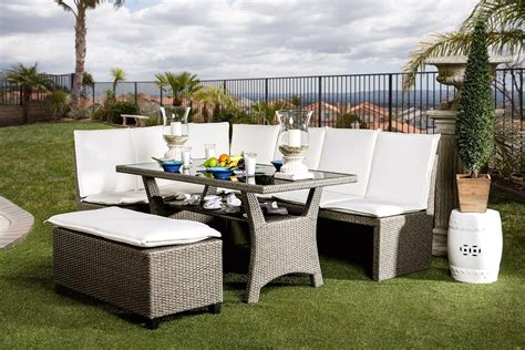 casual patio furniture sets naples casual outdoor patio sectional dining set in white