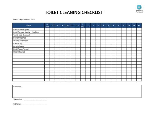 Free Toilet Cleaning Checklist Templates At Allbusinesstemplates Com Cleaning Template