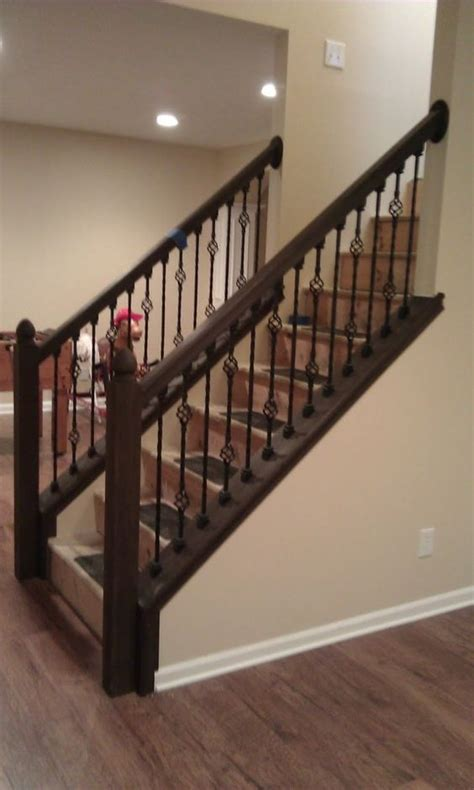 Black Metal Stair Spindles Fascinating Staircase Idea With Black Wrought Iron
