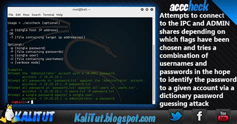 tutorial kali linux tools acccheck kalitut tutorial
