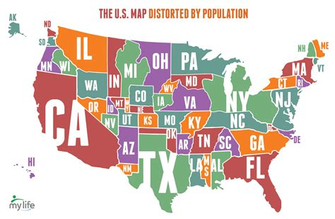 us map states size by population map of the united states distorted by population