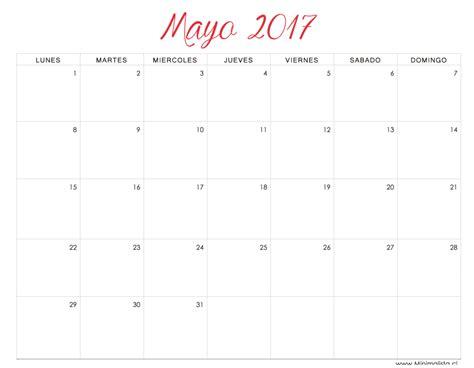 calendario 2017 mes a mes minimalista calendario mes de mayo 2017 para imprimir