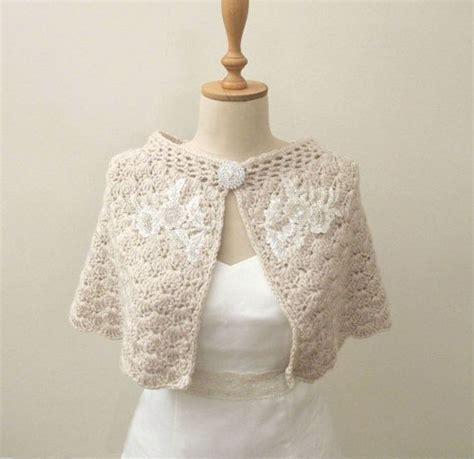 Crochet Bridal Capelet, Champagne Shoulder Wrap, Wedding