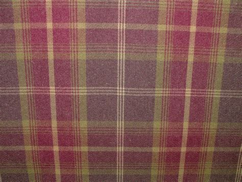thick curtain fabric balmoral amethyst wool effect washable thick tartan