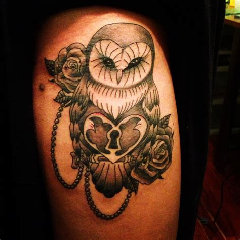 rose and key tattoo owl roses pearls lock and key thigh tattoos