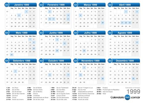Calendario De 1999 Calend 225 1999