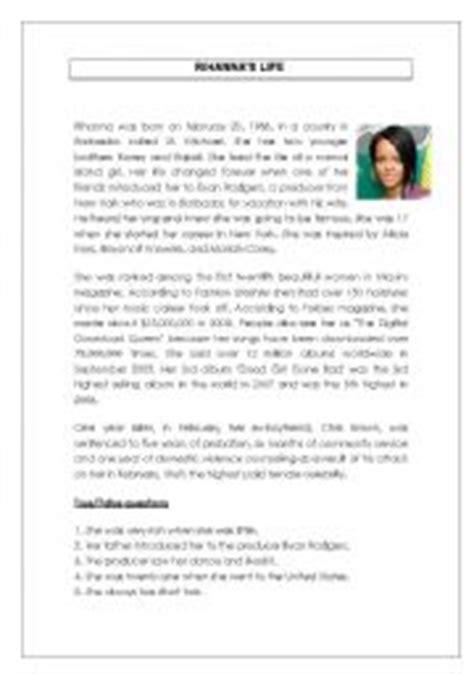 biography reading comprehension english teaching worksheets rihanna