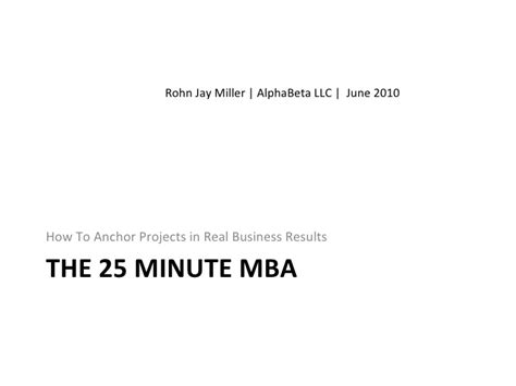 Five Minute Mba by The 25 Minute Mba