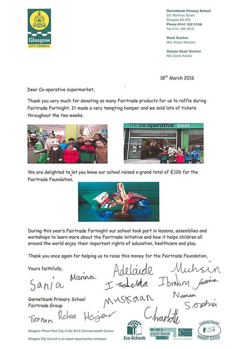 Bank Letter Glasgow Garnetbank Primary School