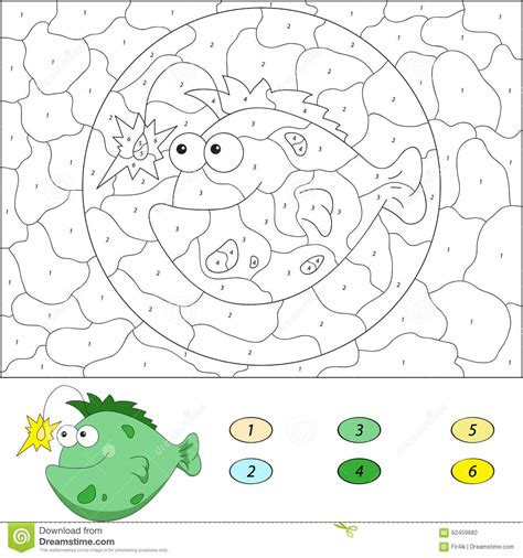fish computer game cartoon color by number educational game for kids funny cartoon
