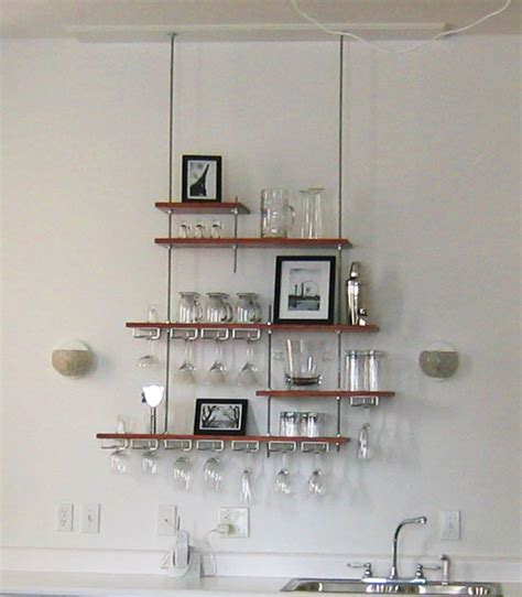 bar storage hanging shelves made from threaded rods