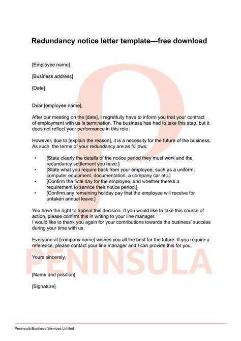 redundancy letter template peninsula uk