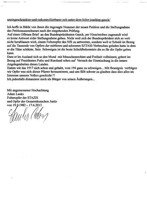 Lebenslauf In Aufsatzform Fur Polizei Vorlage Der Letzte Offene Brief Des Folteropfers Der Stazis Adam Lauks An Den Petitionsausschuss Des