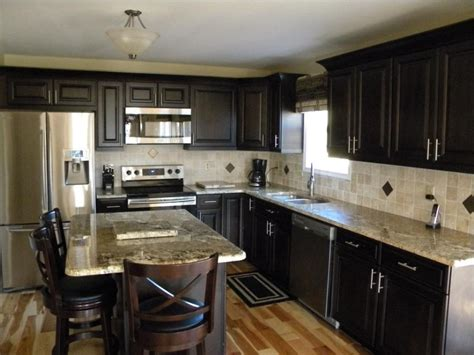 black kitchen cabinets what color on wall grey granite for dining table by mocha tile backsplash