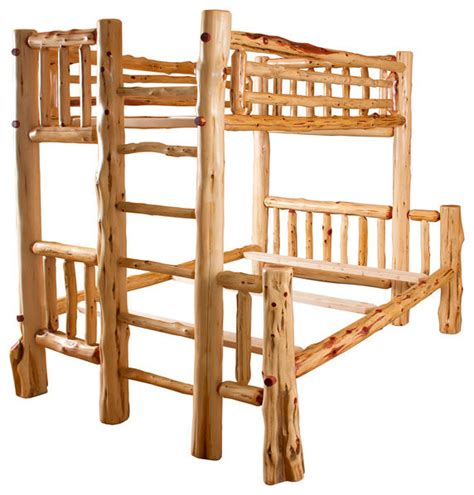 rustic bunk beds rustic red cedar log full over queen bunk bed rustic