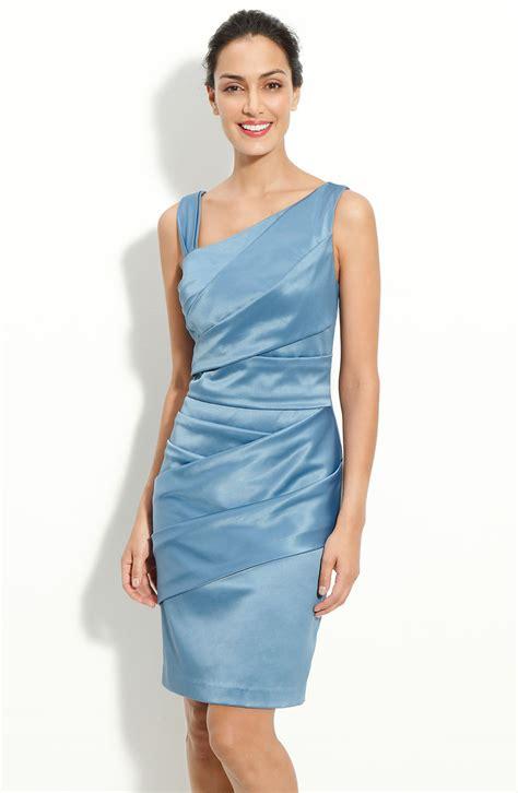 Dress Stretch patra asymmetrical pleat stretch satin sheath dress in blue slate lyst