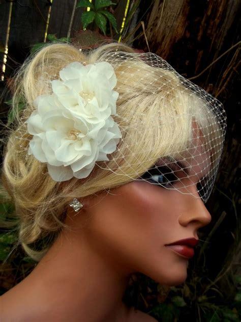 wedding hair clip veil wedding fascinator bridal veil flower hair clip bridal