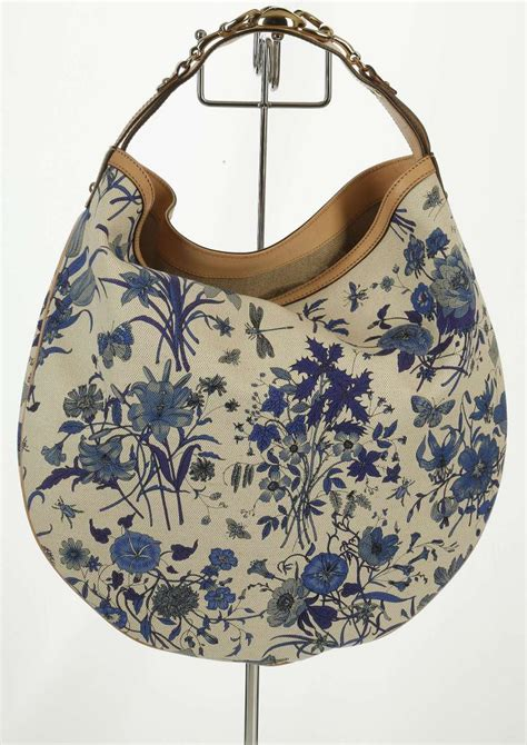 Gucci Hobo Flower 17603 1 gucci blue floral canvas hobo handbag blue printed canvas a