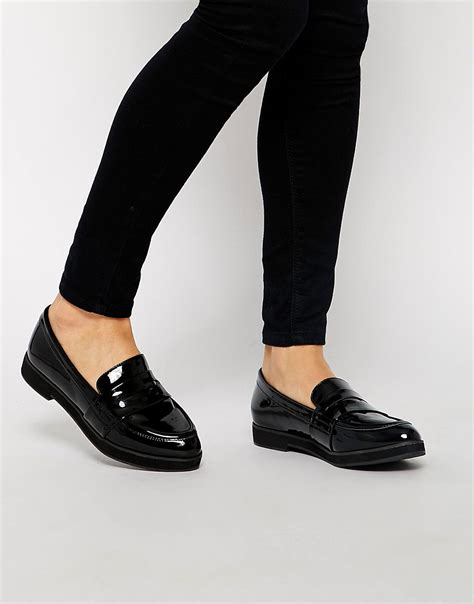 new look new look kool black patent flat loafer shoes at