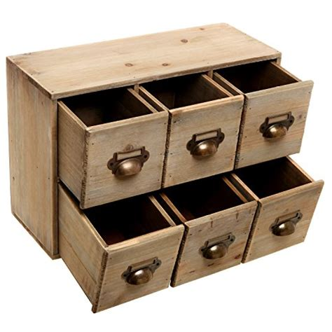 decorative desk organizers vintage style brown unfinished wood 6 drawer cabinet box