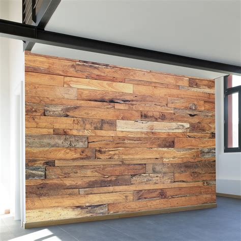 W15 Wallpaper Sticker Motif Rustic building blocks mural wall decal choose a panel size to give your den wall that cool