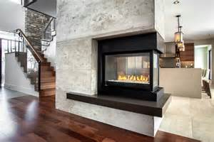 Eclectic Kitchen Designs Three Sided Gas Fireplace Family Room Contemporary With 3