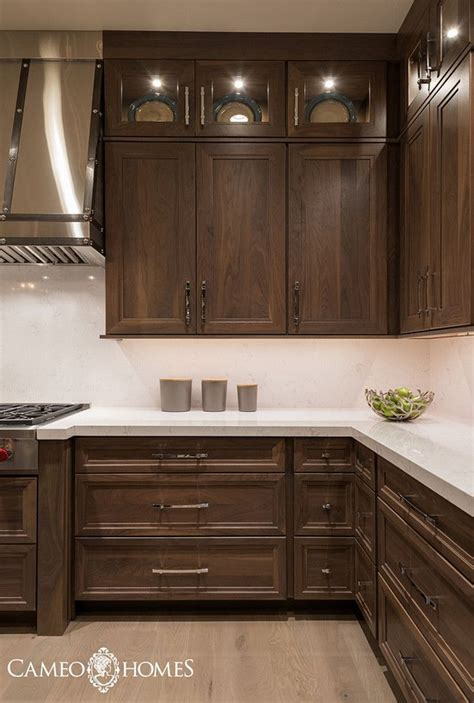 walnut kitchen cabinets at home design concept ideas